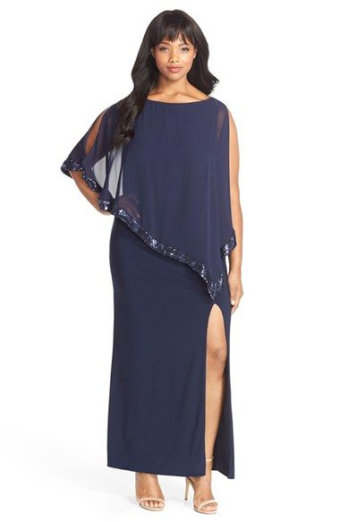 Xscape Jersey Gown with Sequin Trim Chiffon Overlay (Plus Size) available at #Nordstrom