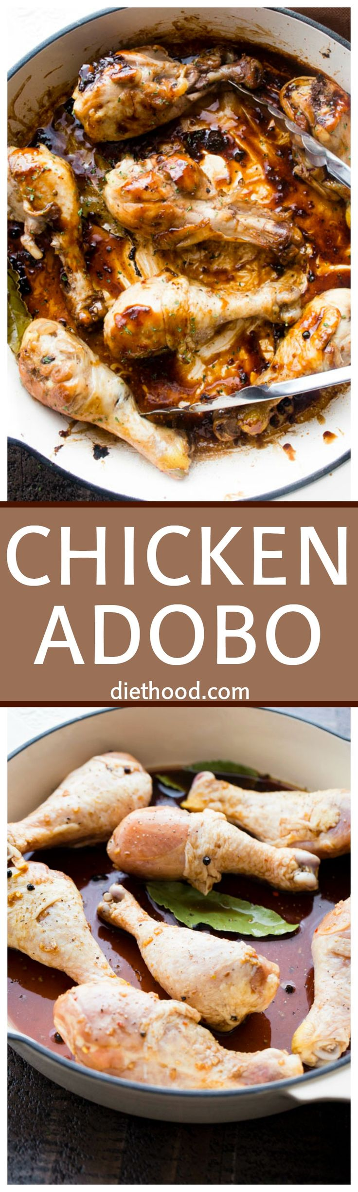 Easy Chicken Adobo Recipe - Inspired by the Phillipine's national dish, this garlicky, vinegary, sweet, and sour chicken adobo is so incredibly delicious and very easy to prepare!