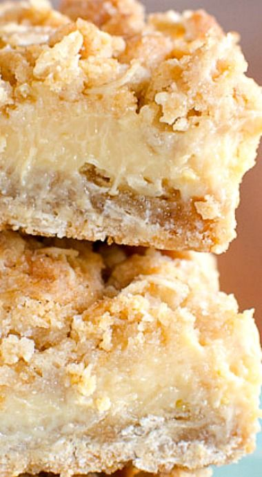 These easy lemon bars have a creamy lemon filling between two thick crumbly oatmeal layers. A delightful balance of sweet and tangy! ❊