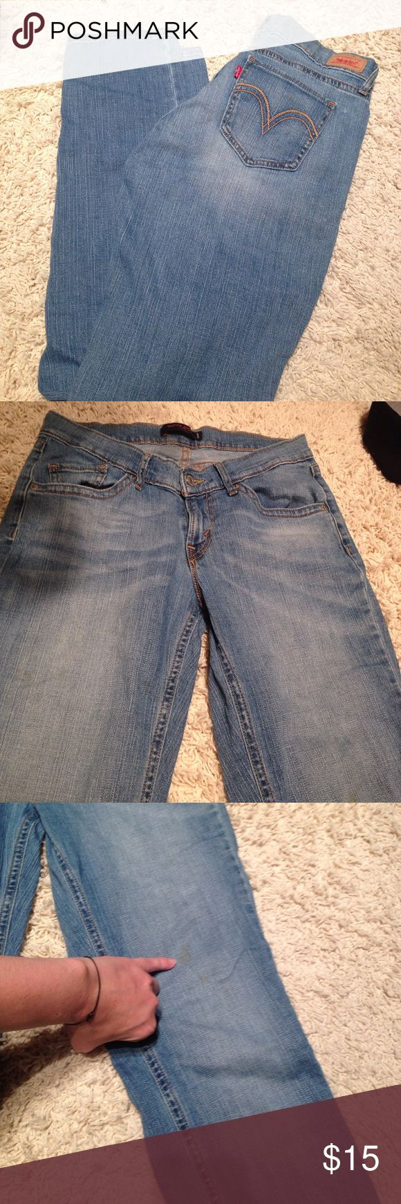 """💜Levi's Curvy Cut These are great Levi's 528 curvy cut jeans.  Size 9M (technically juniors) but I wore them as an adult woman. 31"""" inseam. Pre loved condition, zoom in pic for details, a lot of life left in these babies 🌸💜💜Purple Heart Special💜💜 see post got discount details. Jeans Straight Leg"""