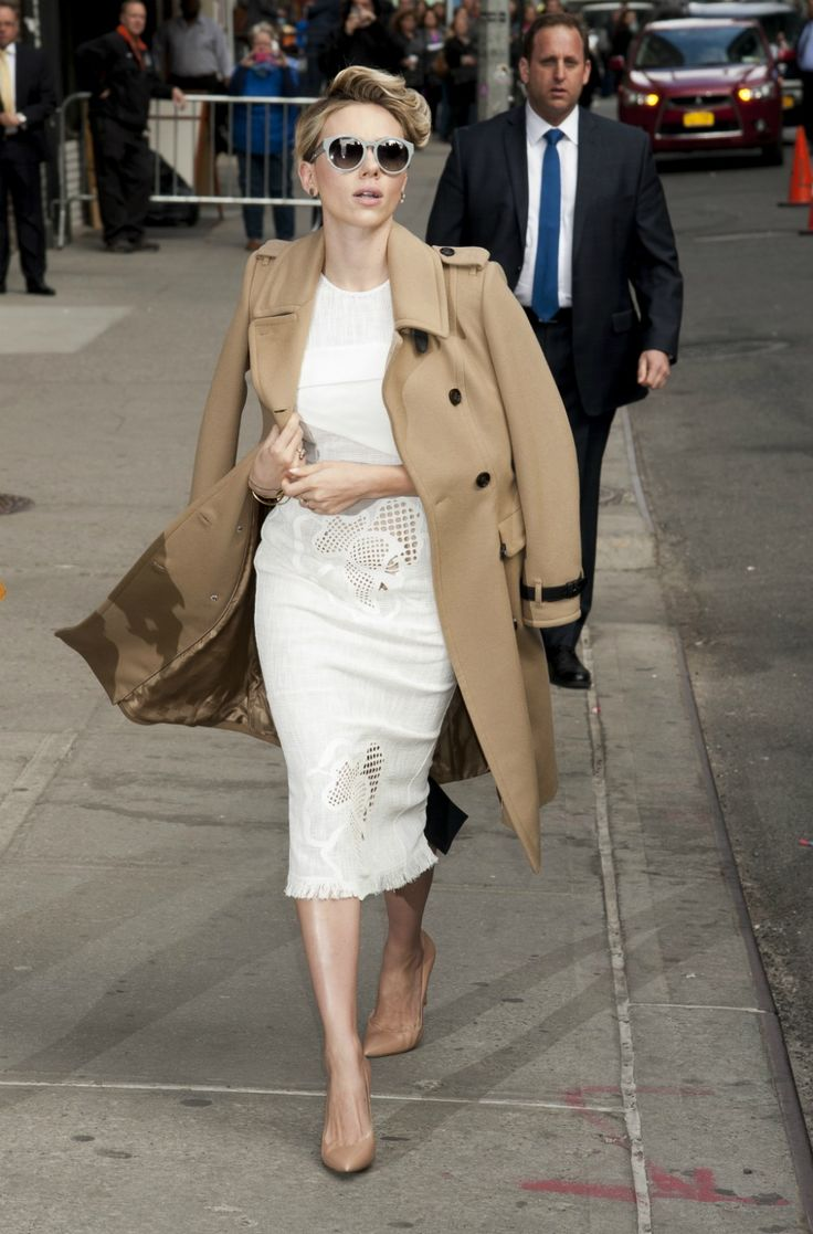 Scarlett Johansson | Retro pixie cut, camel coat, tanned heels and amazing detailed white dress
