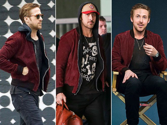 Ryan Gosling maroon bomber jacket