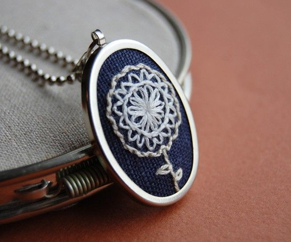 Embroidered Flower Pendant.
