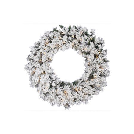 24 inch Pre-lit Heavily Flocked Pine Artificial Christmas Wreath - Clear Lights