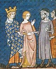 14th C. depiction of King Charles the Simple giving his daughter Gisella in marriage to Rollo, Earl of Normandy
