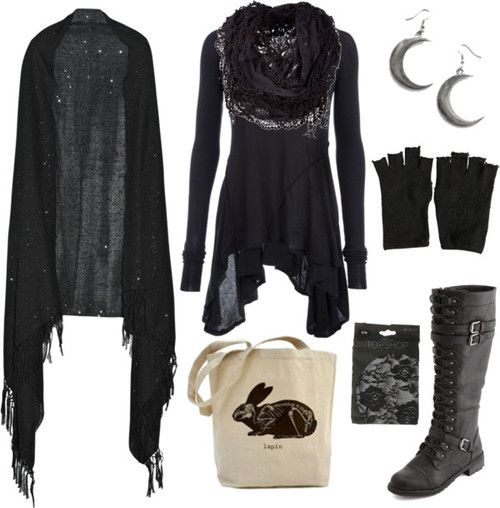 casual forest witch by n-nyx on Polyvore featuring Rick Owens top, Valentino shawl, Charlotte Russe boots, AllSaints gloves
