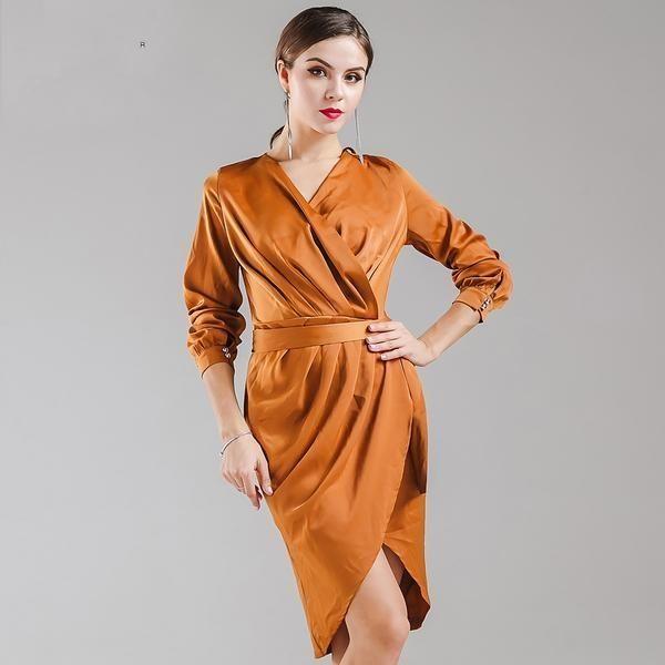 V-neck Dark Orange Dress