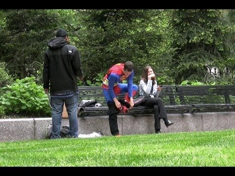 Without a phone booth in site, Clark Kent has to improvise.        See what Tony Stark thought once he heard about the other Avengers-  http://www.youtube.com/watch?v=0y6WnxJQT98    descriptions: Superman needs some help changing into his costume.  Clark Kent does a public costume change.  Hidden Camera Superman Prank.