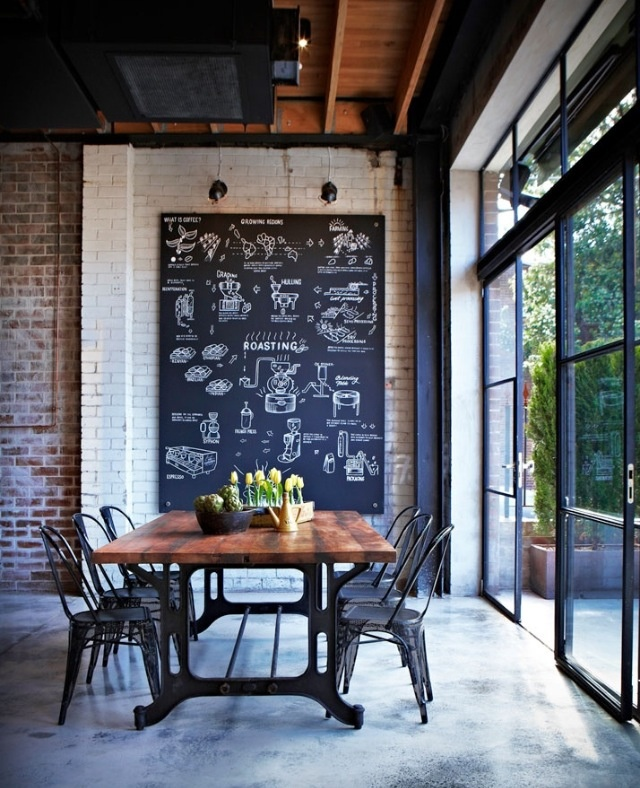 .chalk art, industrial table and chairs old brick polishes concrete
