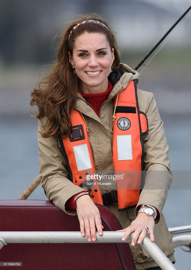 (NO UK SALES FOR 28 DAYS)  Catherine, Duchess of Cambridge look on during a fishing boat trip on September 30, 2016 in Haida Gwaii, Canada.  (Photo by Samir Hussein/WireImage)