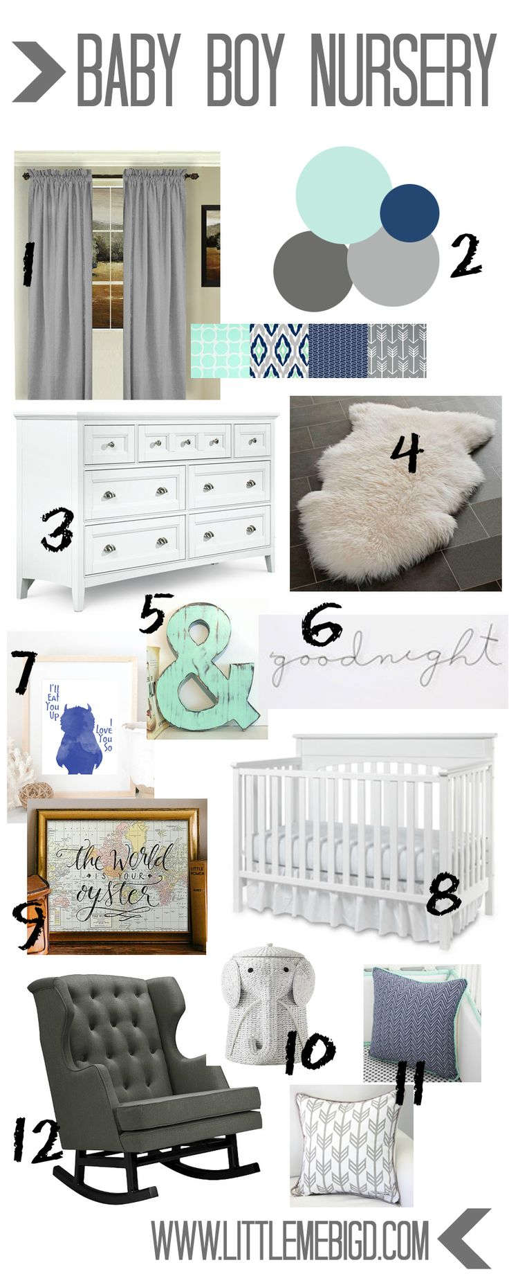 Nursery idea board! Little boy's room. Mint, gray, and navy!