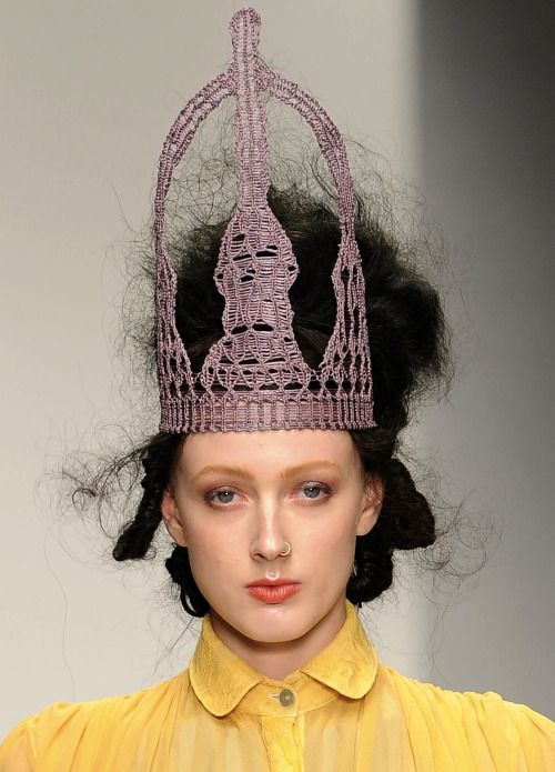wgsn:  There were crocheted crowns at Bora Aksu's #lfw show today - part and parcel of the designer's romantic and regal collection inspired by Marie, Queen of Romania. SUBSCRIBERS CLICK HERE FOR THE FULL REPORT