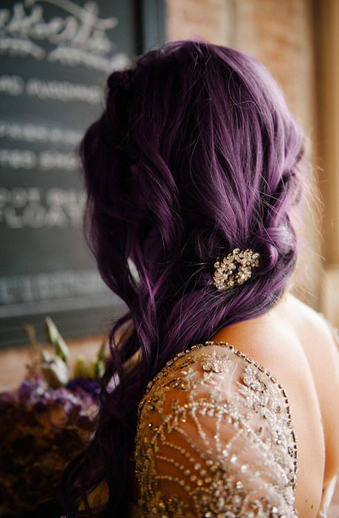 Plum / purple bridal hair with clip #wedding #colour