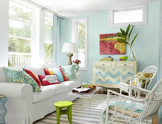 Small Beach Cottage Living Room in Blue Pink and Green. Soft Tropical Color Scheme.  http://beachblissliving.com/beach-cottage-remodel/