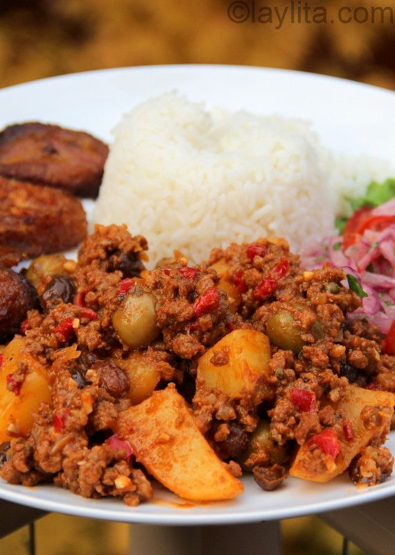 Cuban Style Beef Picadillo. This should be delicious as the ingredients are similar to one I had in Panama. It includes olives, capers and raisins, all of which help give it such a broad range of textures and flavors.