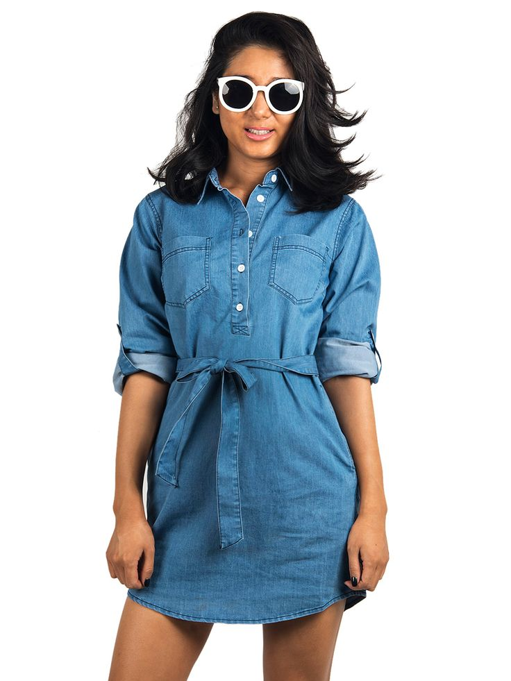 Blue Roll Up Sleeve Denim Shirt Dress | Choies