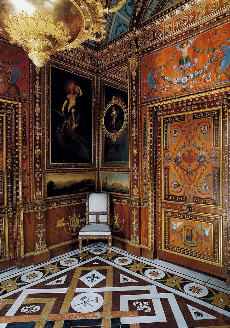 Casa del Labrador, Palacio Real de Aranjuez, Spain. Platinum Cabinet/Gabinete de Platino ; Empire style decor by French Artists Percier & Fontaine between 1801-1807.