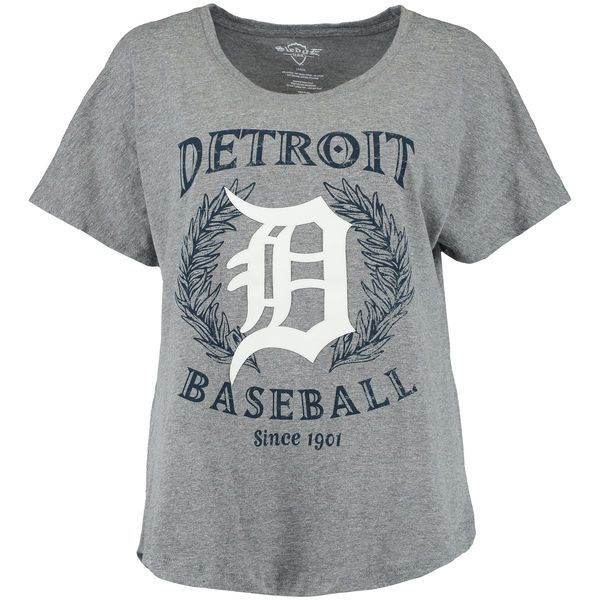 Detroit Tigers Women's Team Logo Tri-Blend Boyfriend T-Shirt - Heather Gray - $32.99