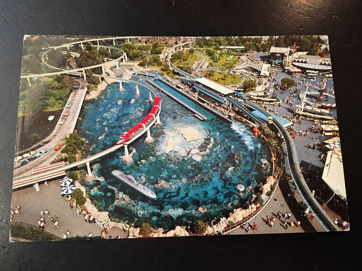 Vintage Disneyland Tomorrowland Postcard - Monorail, Submarine, Autopia, and more by VintageDisneyana on Etsy