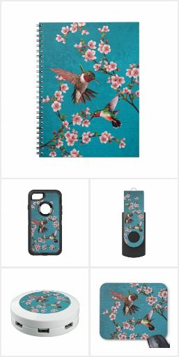 Vintage Style Hummingbirds & Cherry Blossoms