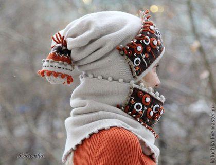 Полшага до зимы. (Шапка+снуд) - абстрактный,шапка вязаная,снуд,голоовные уборы