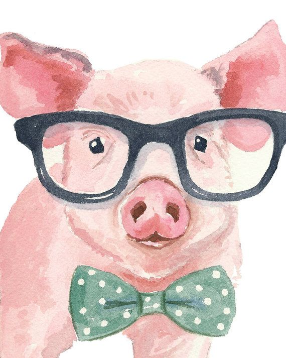 Pig Watercolor Print - 5x7 Print, Nerd Glasses, Reading, Nursery Art, Pig Painting