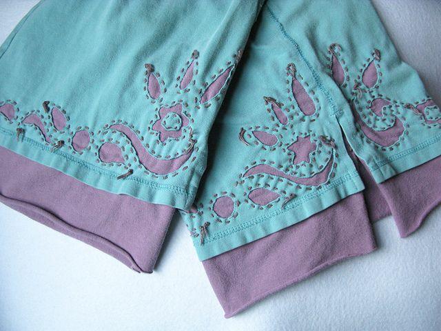 Reverse Applique pants - Alabama Chanin style