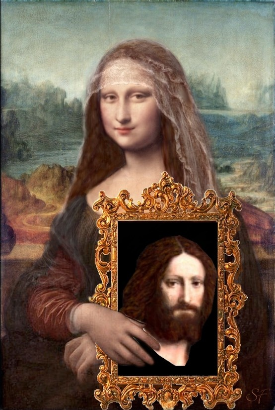 Isabella, with a portrait of her court painter: Leonardo Da Vinci, painted by Bernardino Luini, and colorized by D'Lynn aka Spohurafan - based on the research of historian Maike Vogt-Luerssen.  www.kleio.org