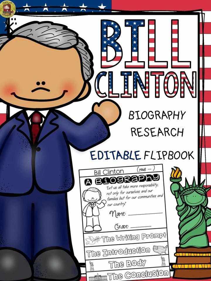 Make research on Bill Clinton interesting and fun with this EDITABLE flipbook organizer. https://www.teacherspayteachers.com/Product/PRESIDENTS-DAY-BIOGRAPHY-BILL-CLINTON-2385697