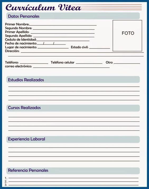 Rellenar E Imprimir Curriculum Vitae Gratis Curriculum Pinterest