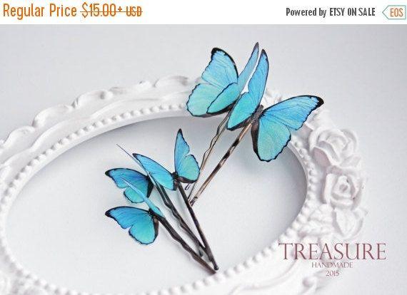 VERKOOP blauwe vlinder haar pin blauwe vlinder haar door TreasureAM