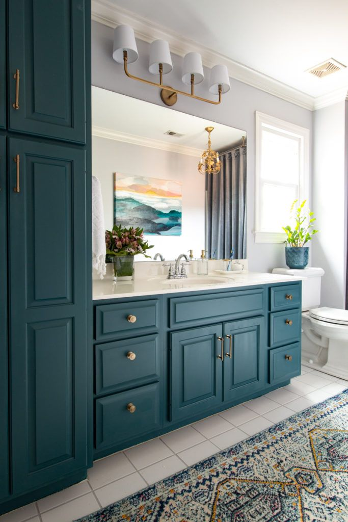 Pin By Deeply Southern Home On Bathrooms Bathroom Makeover Trendy Bathroom Bathroom Cabinet Colors