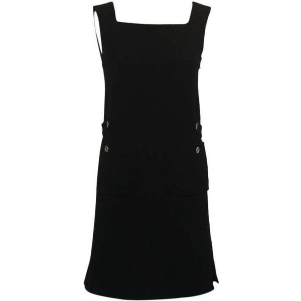 Preowned Courreges Vintage Black Double Faced Wool Shift Dress-sz... ($760) ❤ liked on Polyvore featuring dresses, black, shift dress, courreges dress, sleeveless shift dress, pre owned dresses, sleeveless wool dress and no sleeve dress