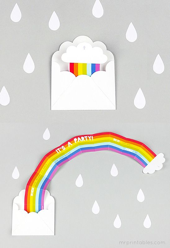 Surprise Rainbow Party Invitation - Mr Printables