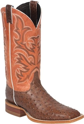Justin Men's Orange Clay AQHA Remuda Antique Brown Ostrich Cowboy Boot -- What do you think of these boots for Spring? Let us know what you think! | SouthTexasTack.com