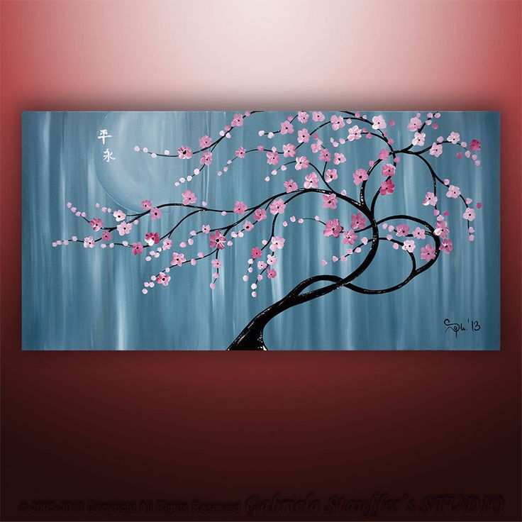 Abstract Painting Art Original Landscape Asian Tree by Catalin