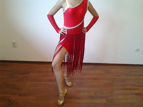 Latin Red Fringe dress.  Really cute dress and not too revealing ;)