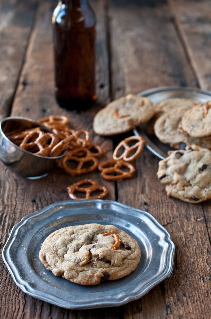 Pub Cookies. Made with beer, pretzels, chocolate and peanuts