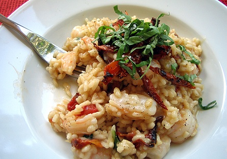 shrimp and slow roasted tomato risotto