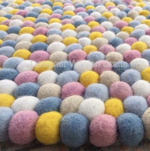 90cm – 300cm Nepalese Handmade 100%  Wool Felt Ball Rug Nursery Rug Home and Kids Room Decor Area Ru