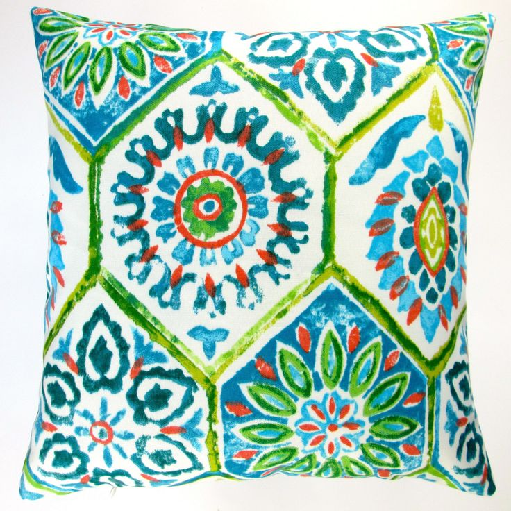 Artisan Pillows Outdoor 18-inch Lime Blue Modern Abstract Geometric Caribbean Beach Style Throw Pillow Cover