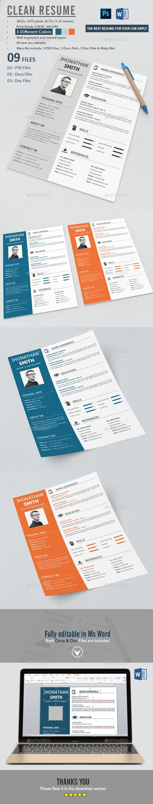 Cv Templates Design%0A Clean Resume