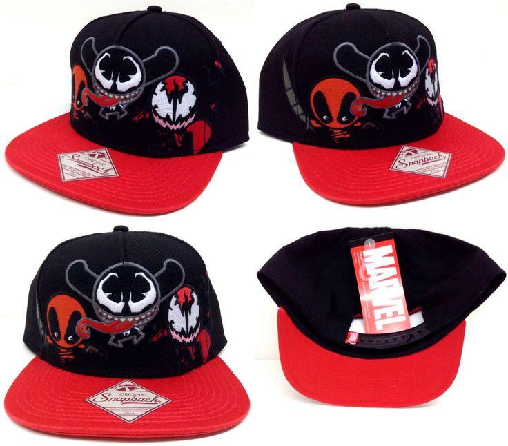 New Marvel Kawaii Villains Deadpool,Venom,Carnage Black Snapback Hat Cap Cosplay #OfficiallyLicensedBioworld #BaseballCap