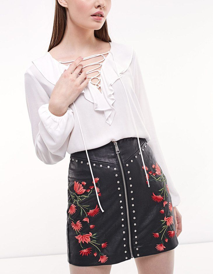 Leather look skirt with embroidery and stud detail - Skirts | Stradivarius Israel