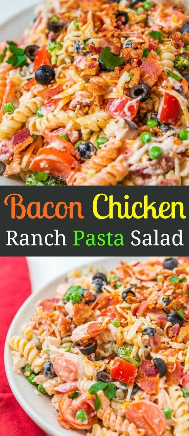 Looking for an easy pasta salad recipe for a bbq? This easy bacon chicken ranch pasta salad is seriously one of my favorite side dish recipes for potlucks! via @ohsweetbasil