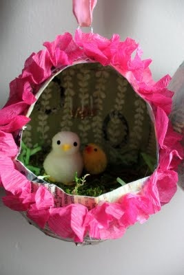 Easter: The paper mache egg diorama - making it!