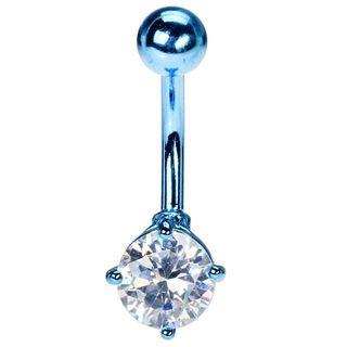 Neon Blue Titanium Belly Button Ring