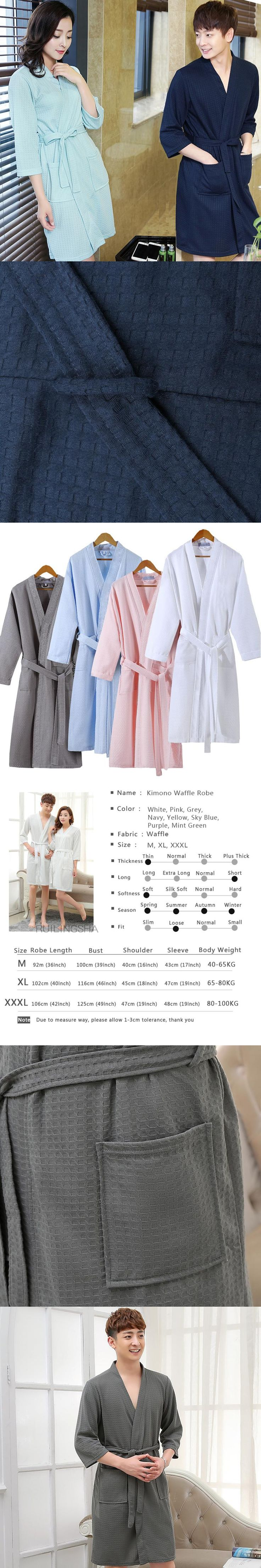 On Sale Men Summer Suck Sweat Cotton Kimono Bath Robe Male Spa Waffle Bathrobe Plus Size Lounge Robes Sexy Mens Dressing Gown