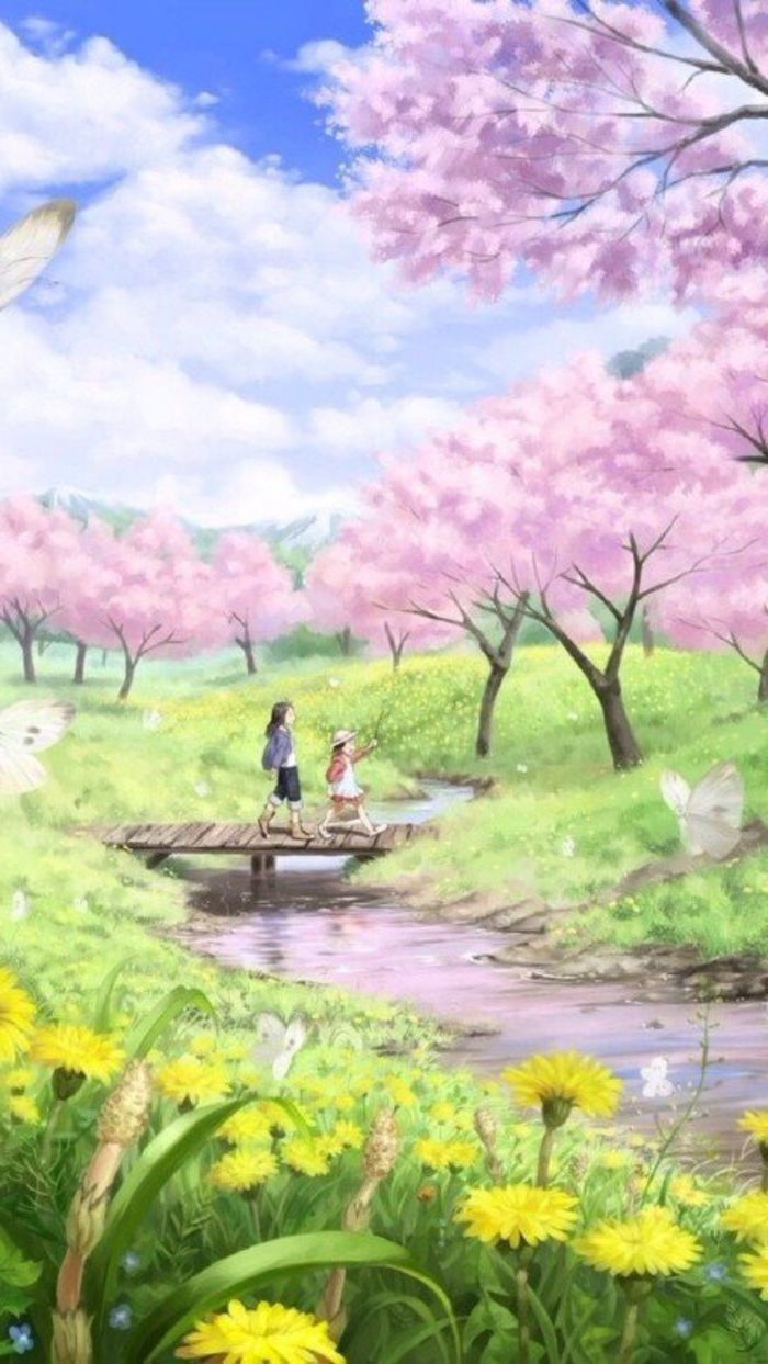 Painting Two Grils Wooden Bridge Spring Wallpaper Hd Phone Wallpaper Pink Blooming Trees But Spring Wallpaper Cute Backgrounds For Phones Some Beautiful Images Amazing flower bridge wallpaper