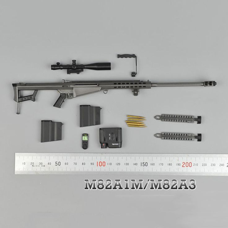 1/6 Metal Color Sniper Rifle Gun Model Barrett  M82A1 SASR Weapon Model for 12 inches Soldier Figure Accessory